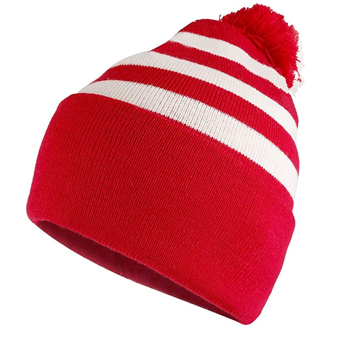 Armycrew Red White Striped Pom Pom Cuff Beanie Hat - Red White - 1 Pack 7623b98f974