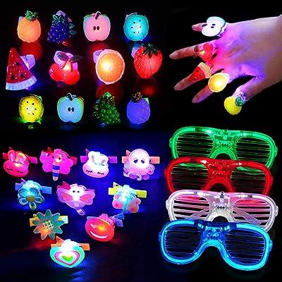 Yuccer 24 Pcs Juguetes Luminosos Vistoso Brillante Suministros para Fiestas Incluyendo 14 Anillos Luces, 8 Led Pinzas para Cabello y 4 Gafas Luminosas (Color Aleatorio): Juguetes y juegos