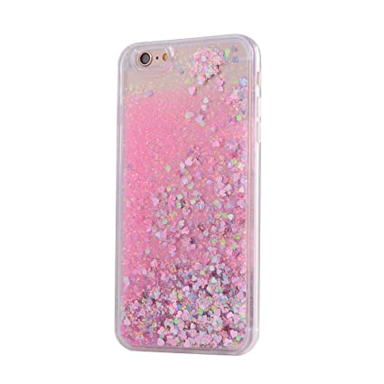online retailer c81eb 5d6d1 KC Liquid Pink Glitter & Floating Sparkle Hearts Soft Transparent Back  Cover for iPhone 6 & iPhone 6s (Rose Gold)