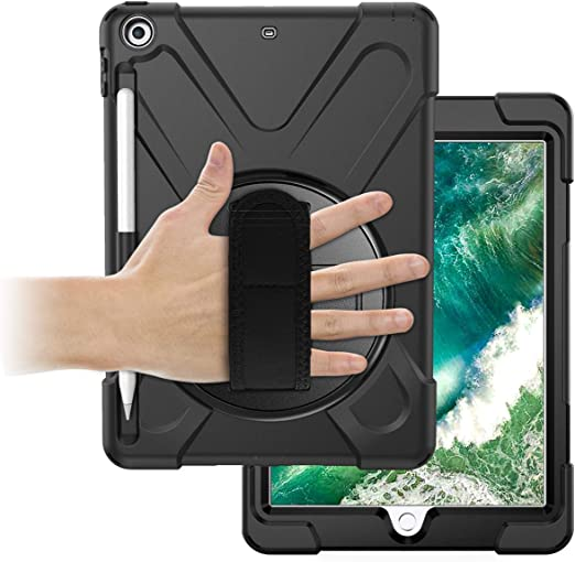 Amazon Com Oribox Anti Fall Case For Ipad 6th 9 7 2018 Ipad 5th 9 7 2017 Hybrid Shockproof Rugged Drop Protection Cover Built With Kickstand For Ipad 9 7 Inch Black