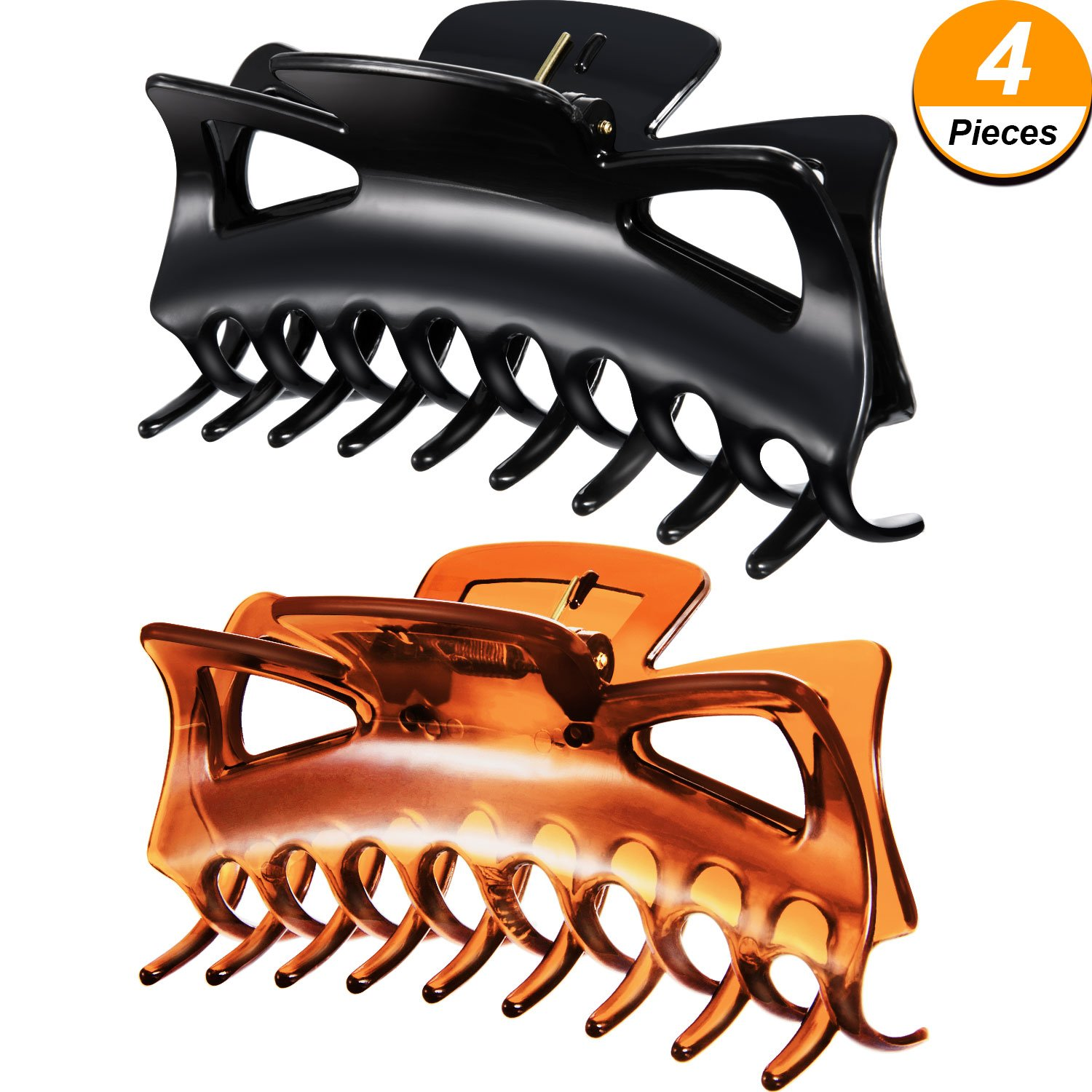 4 Pieces Plastic Hair Claw Clips Women Thick Hair Claw Clamps (2.4 Inches and 4.33 Inches Black and Brown) Bememo