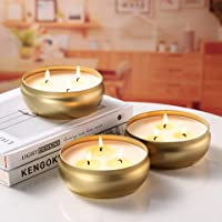 Citronella Candles Outdoor and Indoor, 3-Wick Scented Candles Gift Set of 3 x 14 oz, Natural Soy Wax Candle