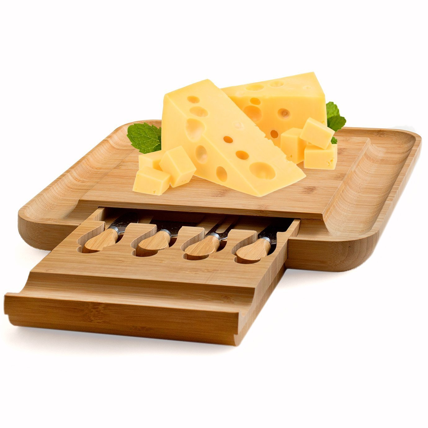 Bamboo Cheese Board with Cutlery Set, Wood Charcuterie Platter and Serving Meat Board with Slide-Out Drawer with 4 Stainless Steel Knife and Server Set - Perfect Gift Idea. By Bambusi by Bambüsi (Image #8)