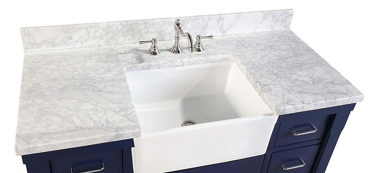 Charlotte 48 Inch Bathroom Vanity Includes A Carrara Marble Countertop Royal Blue Cabinet With Soft Close Drawers And White Ceramic Farmhouse Apron Sink Carrara Royal Blue Bathroom Vanities