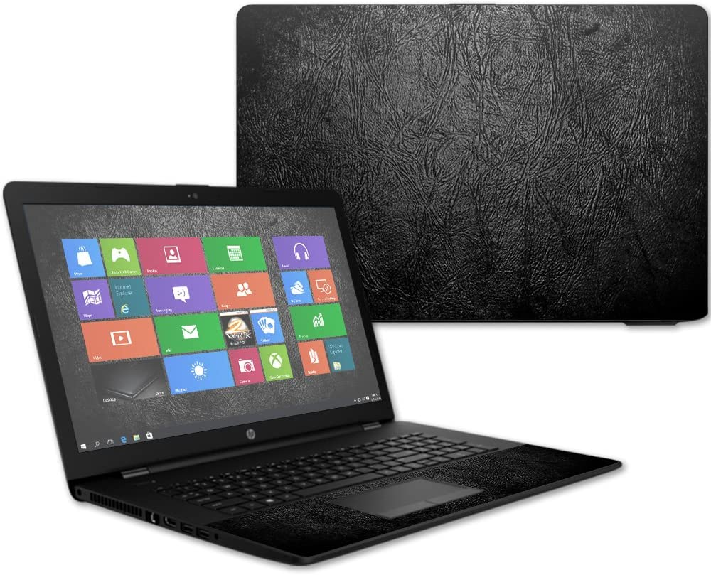 """MightySkins Skin Compatible With HP 17t Laptop 17.3"""" (2017) - Black Leather 
