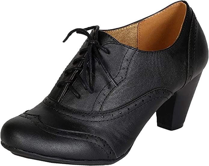 REFRESH Leatherette Lace Up Oxford Chunky Booties Women Ankle Heels