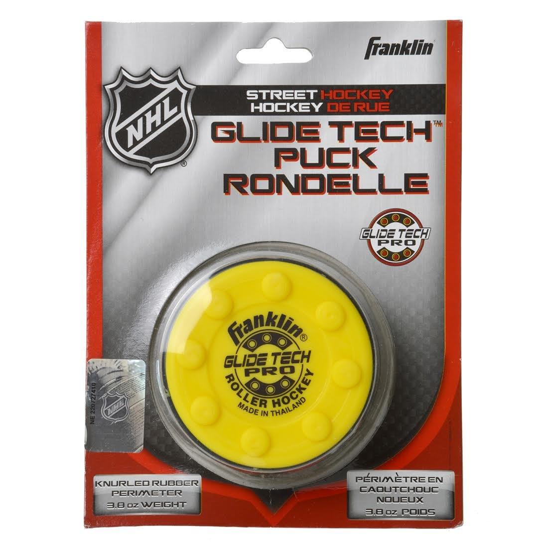 FRANKLIN - Streethockey-Puck Glide Tech Pro NHL I Puck für Roller-& Inlinehockey I Straßenhockey-Puck I für alle Oberflächen geeignet I PVC Puck mit niedriger Reibung I hohe Geschwindigkeit - Gelb FRAPD|#Franklin 12237E2