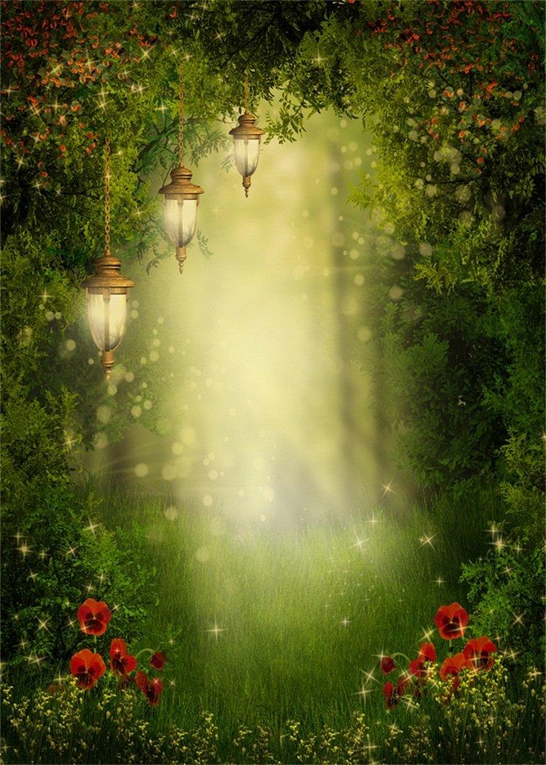 3x5ft Vinyl Photo Background Fairy Tale Forest Trees Flowers Studio Backdrop UK