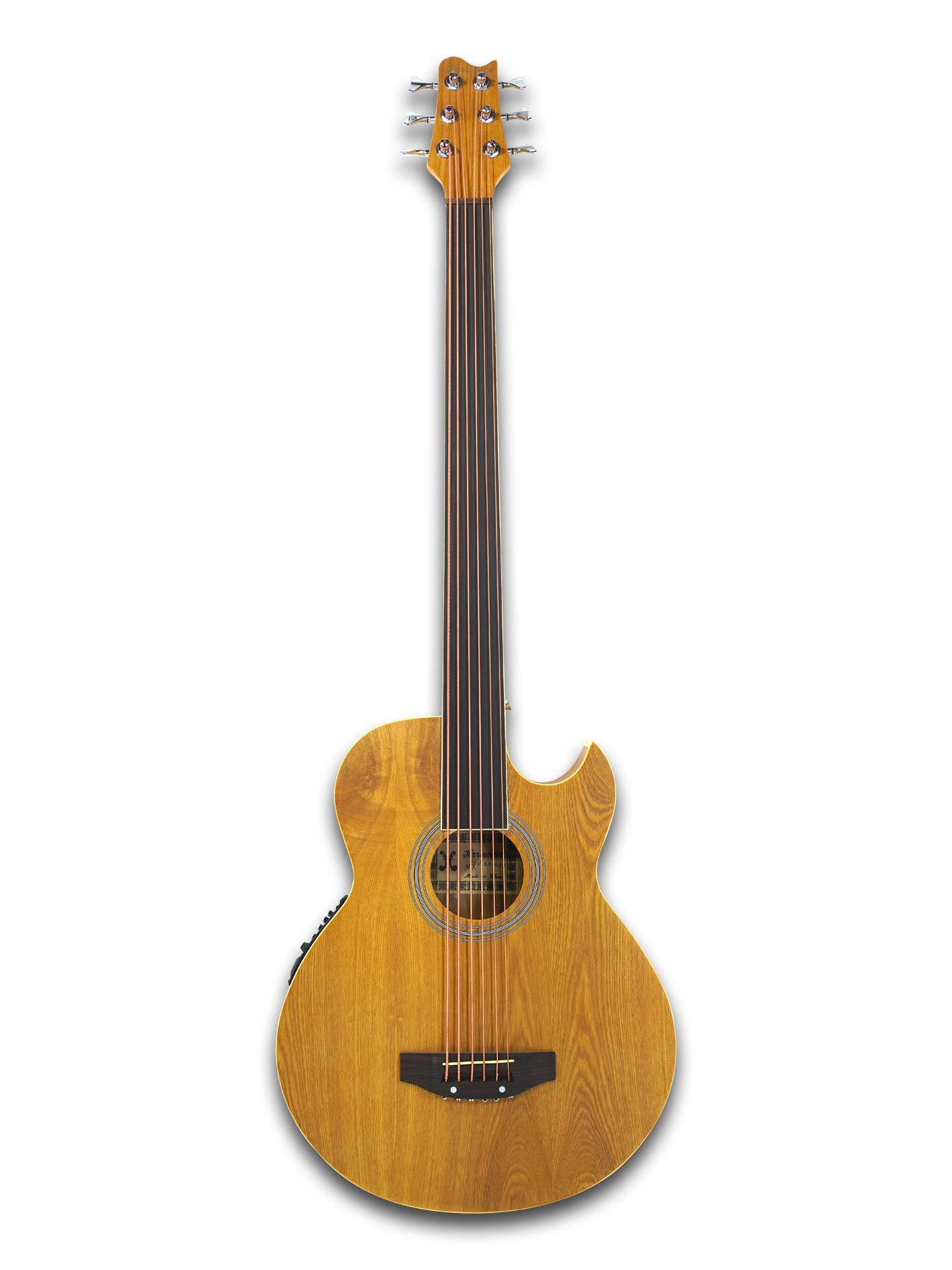 Fretless 6 String Acoustic Electric Cutaway Bass Guitar