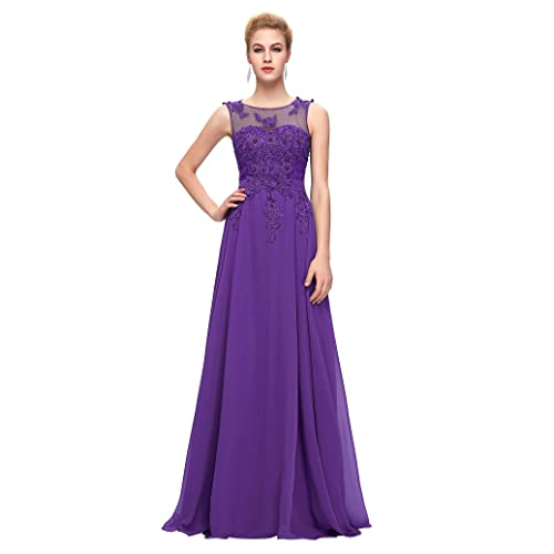 GRACE KARIN Chiffon V Back Evening Dresses Prom Gown with Beads Appliques