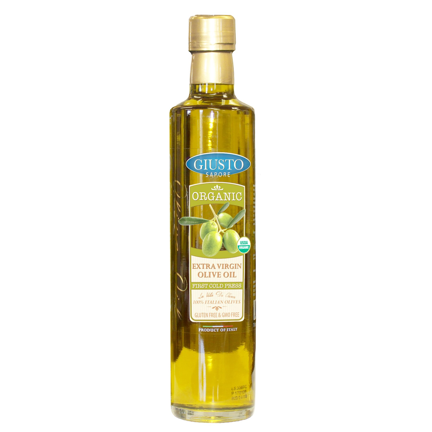 Giusto Sapore Italian Olive Oil - Organic Extra Virgin 17oz - Premium Gluten Free Gourmet Brand - Imported from Italy and Family Owned