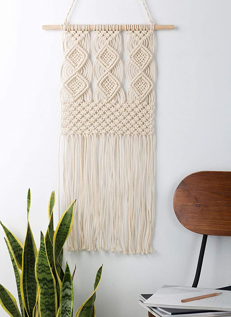 "Handmade Macrame Wall Hanging Woven Tapestry - BOHO Chic Home Art Decor - Bohemian Apartment Studio Dorm Decorative Interior Wall Decor - Living Room Bedroom Nursery Craft Decorations, 12.0""W x 25.0""L"