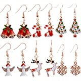 6 Pairs Christmas Dangle Earrings for Women Girls Christmas Tree Stockings Angel Deer Snowflake Bells