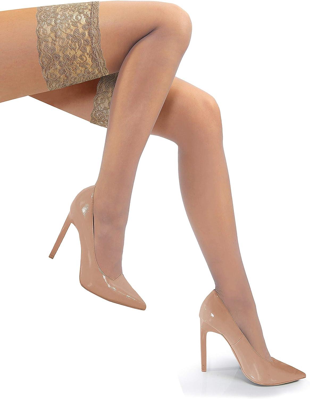 Sesto Senso/® Halterlose Str/ümpfe mit Spitze 1er oder 2er Pack 15 DEN Feinstr/ümpfe Damen RO