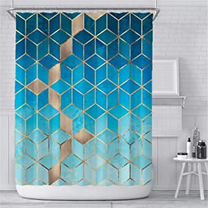 DFDA Geometric Gradient Blue Shower Curtain Liner Cubes Gold Line Waterproof Shower Curtain Sets Bathroom Decor with 12 Hooks Waterproof 72 x 72 inches