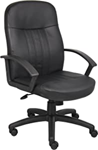 Boss Office Products Executive Leather Budged Chair in Black