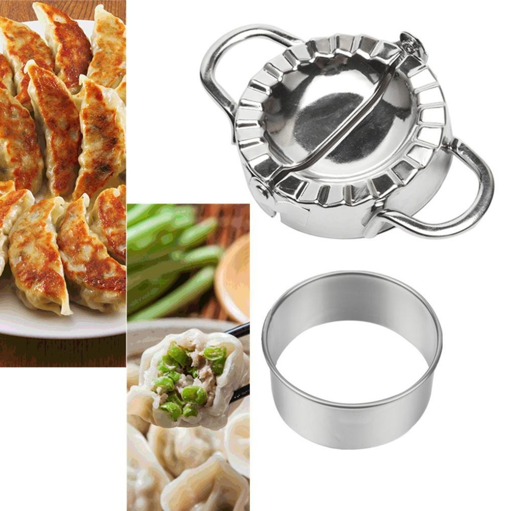 Dumpling Mould,Lovewe Pastry Tools Stainless Steel Dumpling Maker Dough Cutter Dumpling Mould For The New Year(Silver)