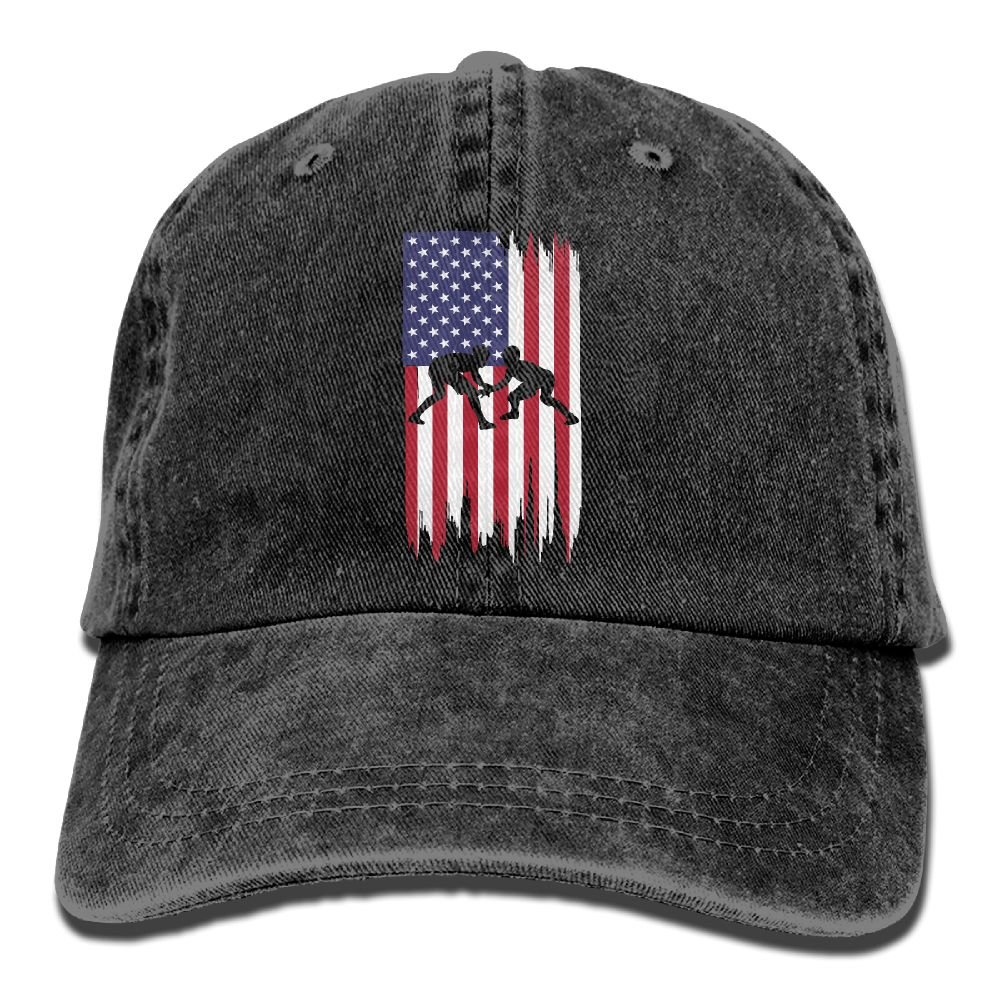 WE9SAW Wrestling American Flag Men Women Cotton Denim Jeanet Trucker Hat Adjustable Jeans Baseball Hat