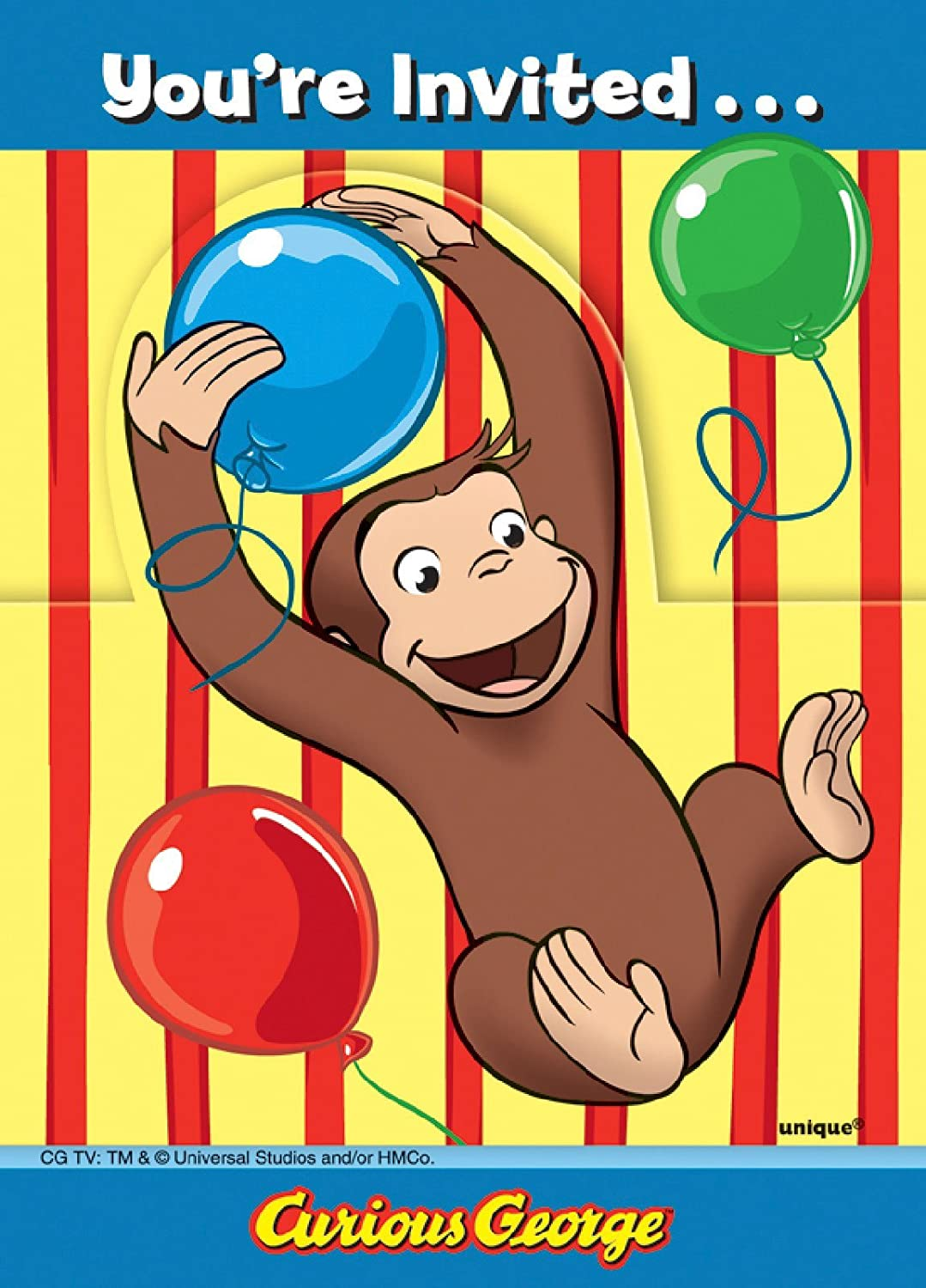 Amazoncom Unique 8 Curious George Invitations Toys Games