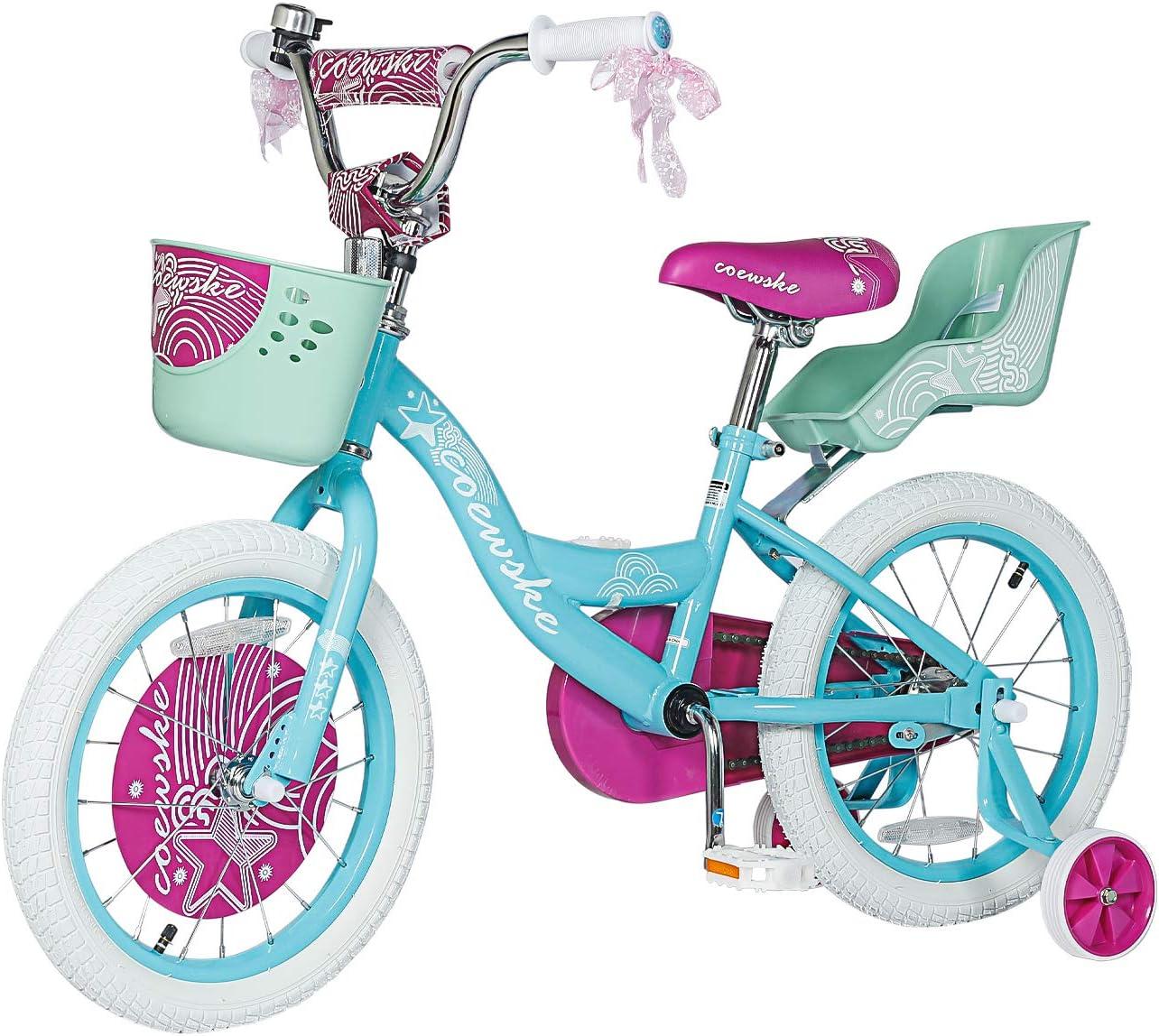 Schwinn Jasmine Kids Bicycle 16in wheel size girls purple age 4 to 7 with training wheels Renewed