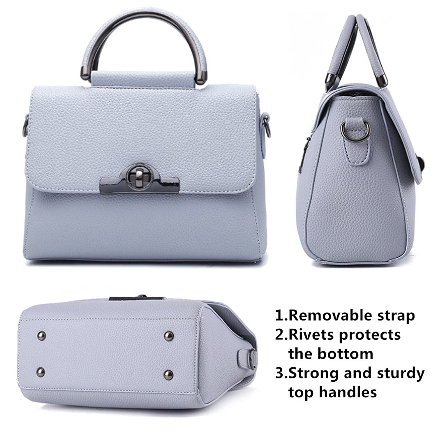 62301e921e Office Lady Top handle Handbag Shopping Crossbody Shoulder Bag Fashion Tote  Handbags Business Satchel Purse with Flap Cover and Turn Lock for Women  Beige  ...