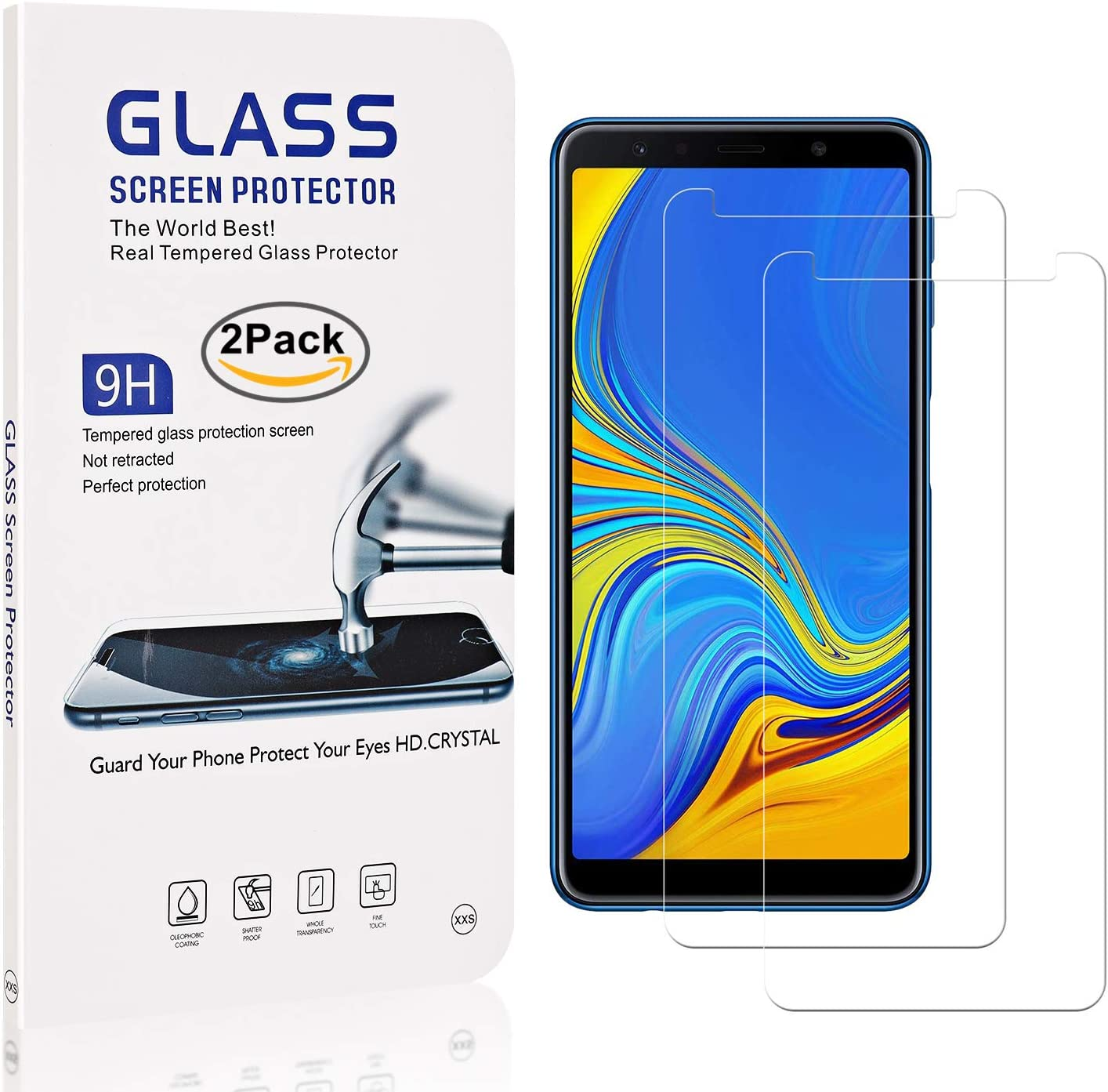 9H Bubble Free Screen Protector for Samsung Galaxy A7 2018 Easy Installation 2 Pack The Grafu Galaxy A7 2018 Screen Protector Tempered Glass Anti Scratch
