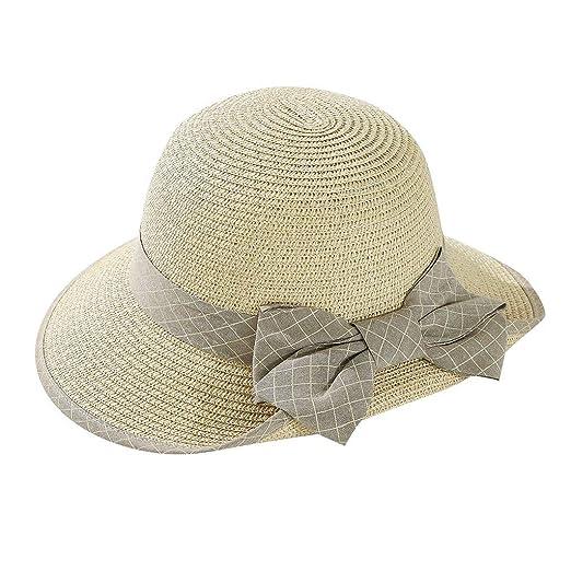 0c44839a6 Sun Hat for Women Floppy Wide Brim Bow Tie Beach Straw hat UPF50 ...