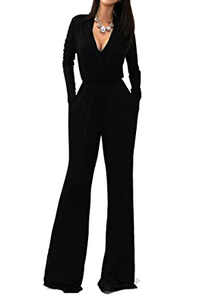 Vivicastle Sexy Wrap Top Wide Leg Long Sleeve Cocktail Knit Jumpsuit  (Small 15c854846