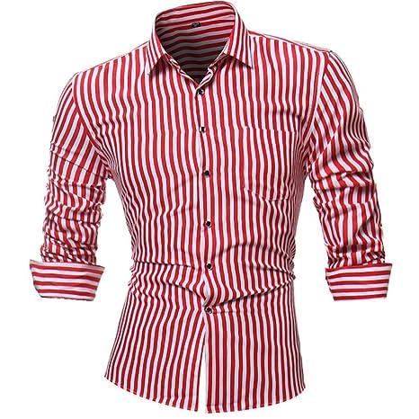 Camisas hombre Rayas de manga larga camiseta de otoño e invierno estilo invierno,YanHoo Mens