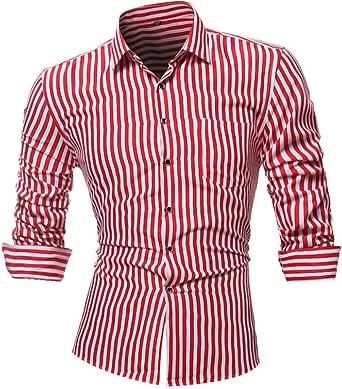 Camisas hombre Rayas de manga larga camiseta de otoño e invierno estilo invierno,YanHoo® Mens Casual color manga larga camisa negocio Slim Fit camisa impresa blusa (Rojo, 4XL): Amazon.es: Iluminación
