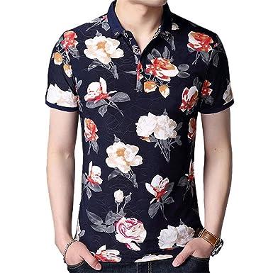 db30148bfabb5a MSMIRROR Mens Polo Shirts Floral Slim Fit Short Sleeve Turn-Down Collor  Casual Polo Shirt