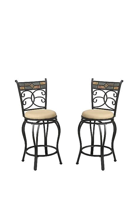 Poundex Y1499 Bobkona Adney 24u0026quot; Seat Height Swivel Bar Stool (Set Of  ...