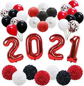 ADLKGG 2021 Graduation Balloons Banner, New Years Eve Party, Hanging Tissue Paper Fans, Latex Balloons, Paper Lanterns, Pom Poms Flowers for Graduation Prom Back to School Decorations (Red Black)