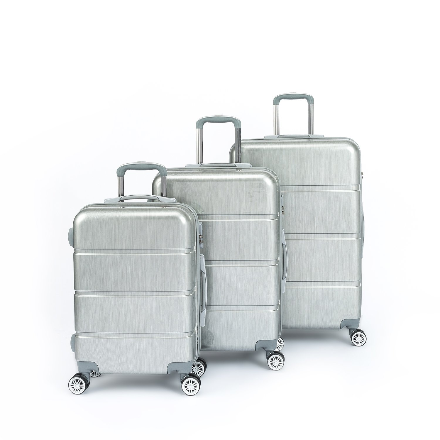 Compaclite Passenger ABS + PC 3 Piece Luggage Set Lightweight Spinner Suitcases, Silver by Compaclite