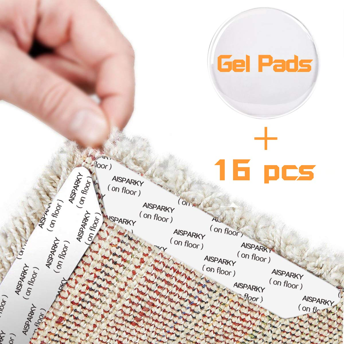 AISPARKY Rug Grippers, with 16 pcs Anti Curling Rug Gripper and 1 pcs Gel Pads Will Keep Rug in Place & Keep Corners Flat Renewable Gripper Tape for Hard Floors Kitchen Bathroom Anti Slip Rug Pad