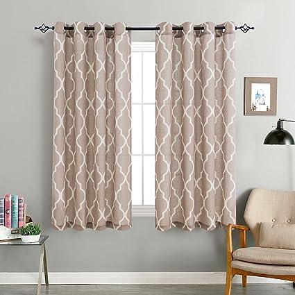 Linen Curtains For Living Room Curtain   Quatrefoil Flax Linen Look Lattice  Moroccan Tile Print Window