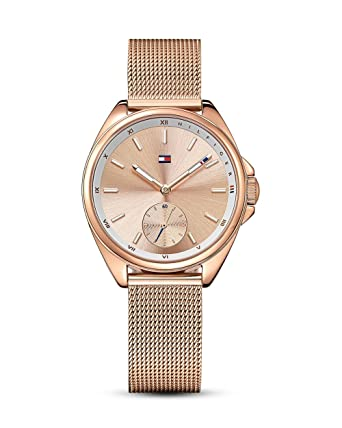 Tommy Hilfiger Womens Casual Sport Quartz Watch with Strap, Rose Gold, 16 (Model