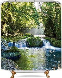 Riyidecor Forest Waterfall Shower Curtain Jungle Landscape Rainforest Green Spring Nature Tree Rock Seasonal Decor Bathroom Set Polyester Waterproof 72x72 Inch Plastic Hooks 12 Pack