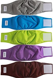 vecomfy Belly Bands for Male Dogs 5 Pack,Premium Washable Reusable Small Dog Belly Wrap Leakproof Puppy Diapers