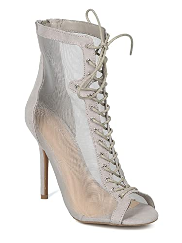 4c0146cb09 Amazon.com | Women Peep Toe Lace Up Mesh Panel Stiletto Bootie - IA39 by Wild  Diva Collection | Shoes