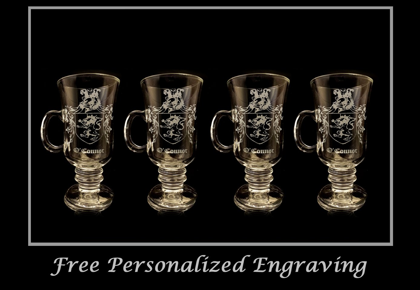 OConnor Irish Family Coat of Arms Irish 10oz Coffee Glass Set of 4 Free Personalization