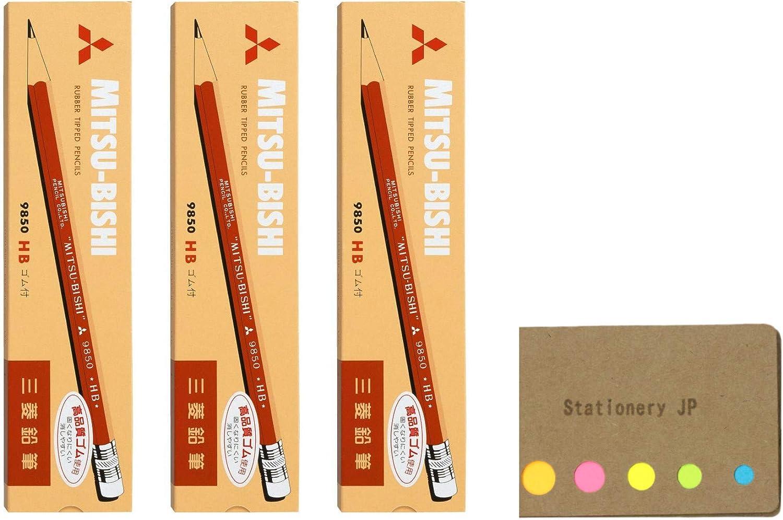 Uni Mitsubishi 9850 Pencil with Eraser, HB, 3-Pack/Total 36 pcs, Sticky Notes Value Set