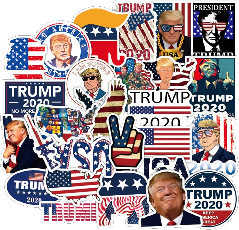 [FOCUS's Stickers]50Pcs American Election Trump 2020 Stickers for Laptop Cellphone Water Bottle Hydro Flask Skateboard Luggage Car Bumper, etc FJHSL