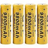 Rechargeables,OVERMAL 4Pcs 3.7V 18650 9800Mah Batterie Rechargeable Li-Ion Pour Lampe Torche Led