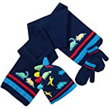 Younger Boys Knitted Dinosaur Pattern Bobble Hat Scarf and Mitts Set