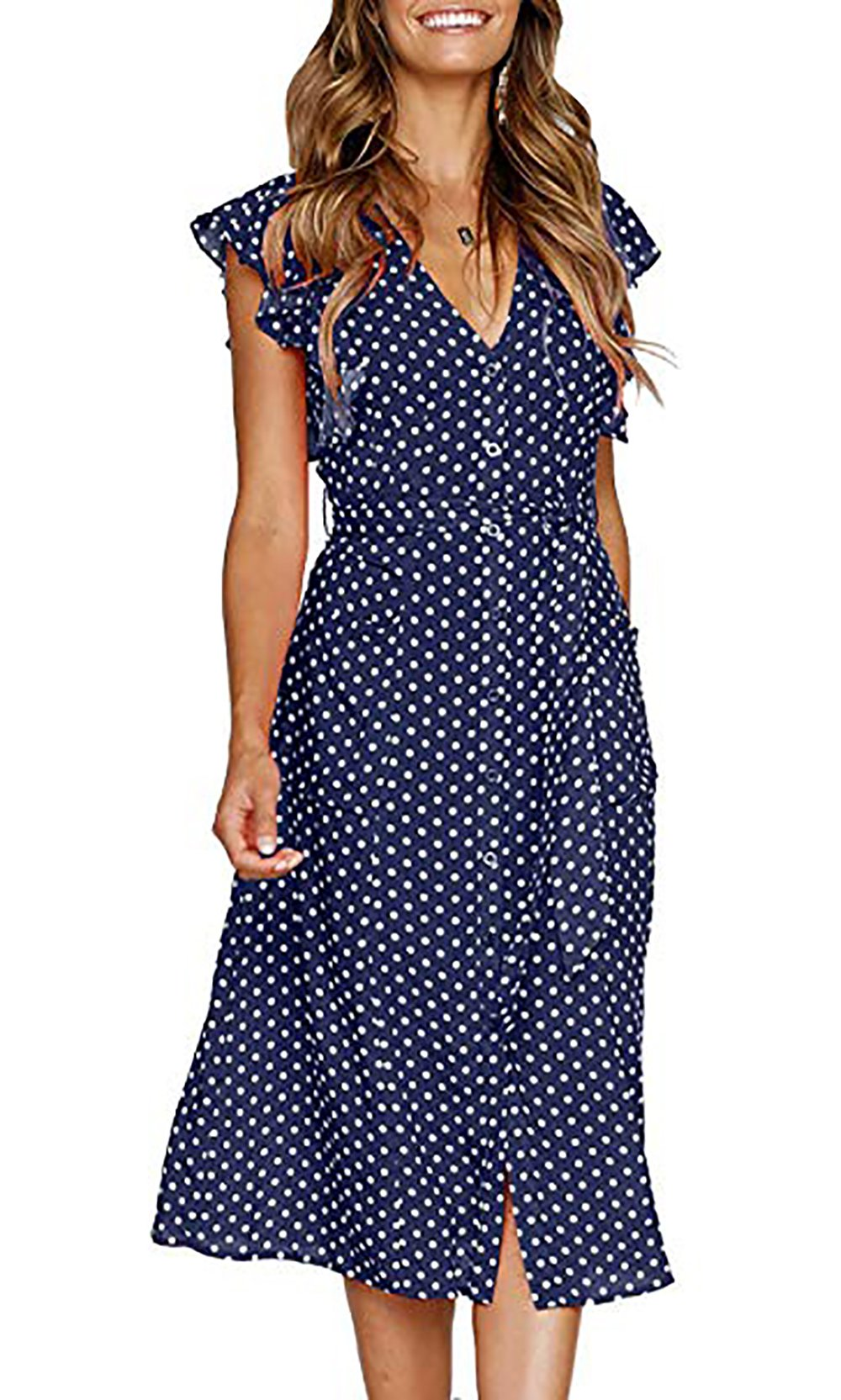 BTFBM Women's 2018 V Neck Polka dot High Waist Tie Bow Streetwear Boho Maxi Dress Without Belt (Navy, Medium)