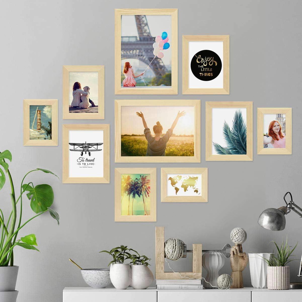 Photolini Juego de 3 Marcos 30x30 cm Basic Collection Modernos Incluyendo Accesorios//Collage de Fotos//galer/ía de im/ágenes Negros de MDF