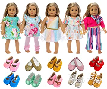 32ed0caa7d01e ZITA ELEMENT American 18 Inch Girl Doll Clothes Outfits Lot 7 = 5 Daily  Costumes Clothes + 2 Random Style Shoes for 18 Inch Doll Accessories