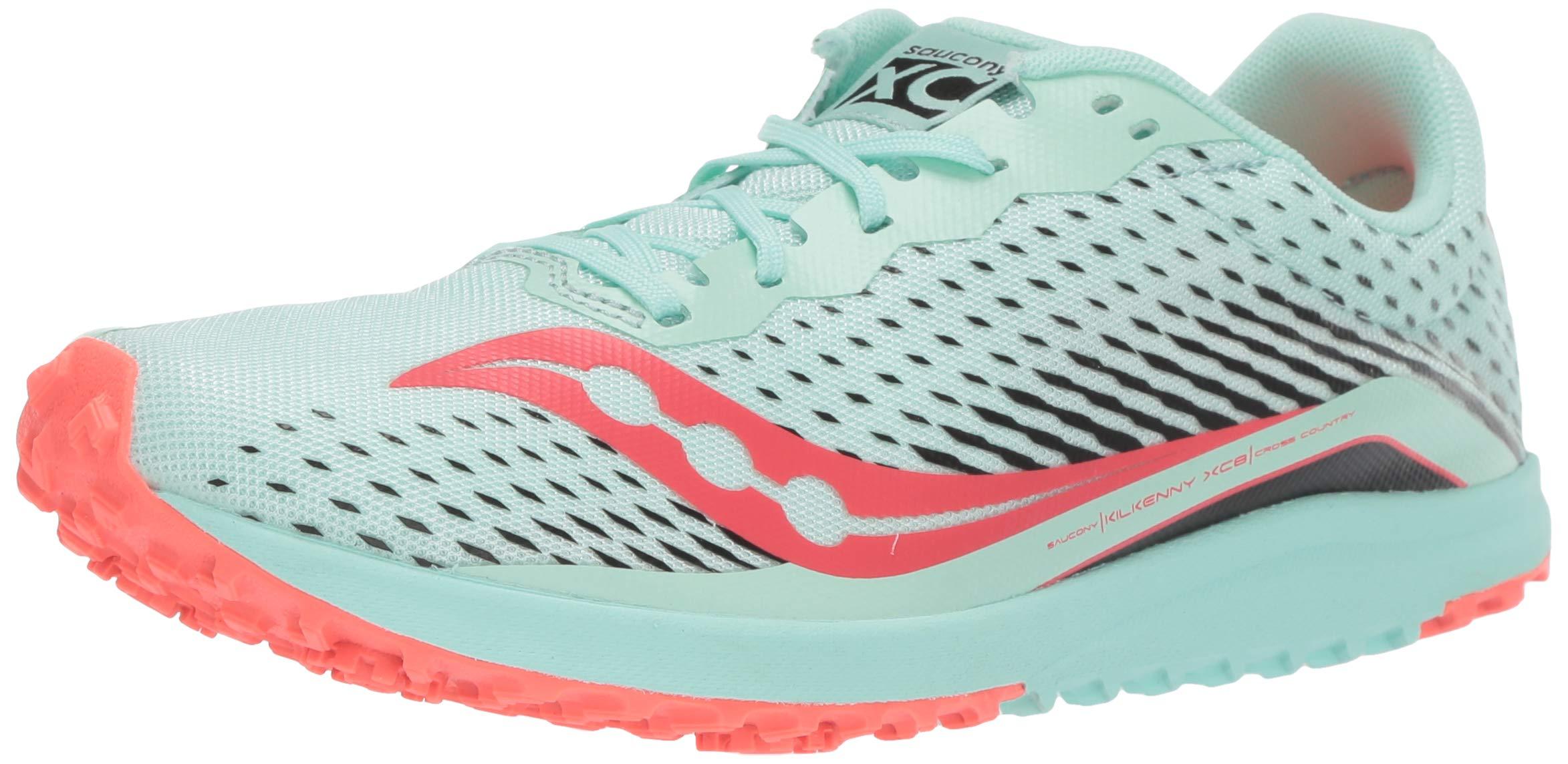 Saucony Women's Kilkenny XC8 Flat Track Shoe, Mint/Vizi Coral, 5.5 Medium US