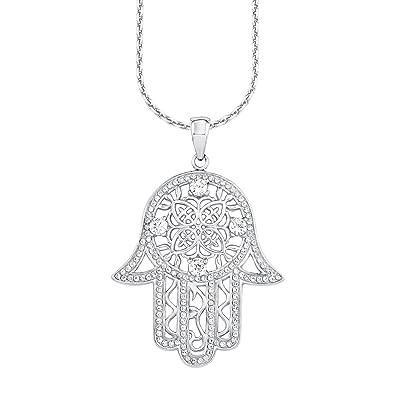 Amor Damen-Kette 70 cm mit Anhänger Hamsa Hand der Fatima 925 Sterling  Silber rhodiniert Zirkonia weiß  Amazon.de  Schmuck 8cf9879aaa